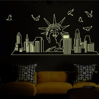 art statue - Glow In the Dark Statue of Liberty Wall Stickers Decal Luminous New York City Silhouette Wall Art Murals Decor Fluorescent NYC Giant Art