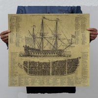 Wholesale Great Maritime Era Ancient Warship Design Drawings Vintage Posters Kraft Paper Wall Stickers Mural Decoration Art Pictures