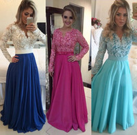 Wholesale White Lace Royal Blue Chiffon A line Prom Dresses Long Sleeve Evening Gowns vestidos de festa Sexy V Neck Formal Party Dress