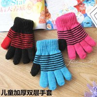Wholesale Thick warm winter winter children gloves knitting fingers double gloves factory direct