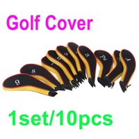 Wholesale 1Set Golf Club Iron Putter Head Cover HeadCovers Protect Set Neoprene Black with Yellow