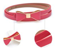 Wholesale Cute Skinny Belts - Wholesale-2015 New Fashion Women's Girl Cute Sweet Candy Colors Bowknot PU Leather Thin Skinny Waistband Belt For Dress Free Shipping