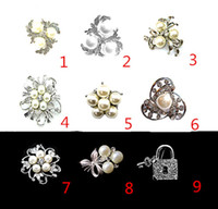 asian face cream - Silver Plated with Clear Crystal Rhinestone brooches and pins with Cream Pearl For Wedding Bouquet or Party