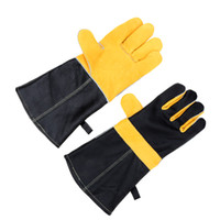 Wholesale 2Pcs Heat Resistant Long Sleeve Leather BBQ Oven Microwave Gloves Cooking Baking Oven Pot Holder Mitt