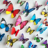Wholesale Mix Order D Wall Sticker PVC Butterfly Magnetic Sticker Set For Home Decoration Room DIY Ornament Multicolor ZYQ1