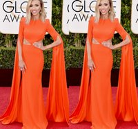 alex shoulder - 73rd Golden Globe Awards Celebrity Dresses Giuliana Rancic in Alex Perry Modest Orange Long Sleeves Red Carpet Evening Prom Party Gowns