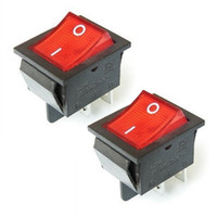 amp components - 2Pcs Electronic Components Red Pin Light On off Boat Rocker Switch V A AC AMP V A Switches T1406
