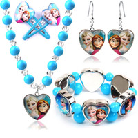Wholesale Perfect Christmas Gift New Arrivals Frozen Elsa Anna Fashion Jewelry Sets For Girls High Quality Heart Necklace Bracelet Earrings Hairpin