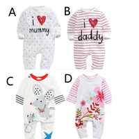 Wholesale 2016 Baby Boys Girls Romper Newborn Clothes Infant Cotton Long Sleeve Cartoon Animals Patterned Climb Costumes White Red T