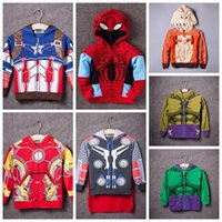 Wholesale The Avengers Boys Fashion Jacket Coat baby Boys Thor Cosplay outerwear Kids Captain America jackets Girls hoodies in stock