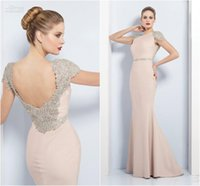 Wholesale Satin Evening Dress with Crystal Crew Neckline Elegant Nude Pink Formal Gowns with Short Sleeve Modest Party Dresses with Beads Belt