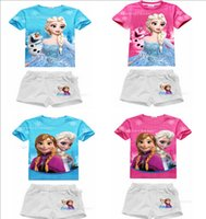 Wholesale 2015 Frozen Summer Children sets T shirt tops short pants Elsa Anna olaf red bule short sleeve Tshirts shorts kids casual sports sets