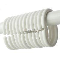 Wholesale 12pcs pack Shower Curtain Hook Hanger Plastic Ring Bath Drape Loop Clasp