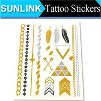 metal stamping - Golden Temporary Tattoos Stamping Waterproof Metal Tattoo Stickers Feather Cool Flash Tats cm Transfer Tattoos