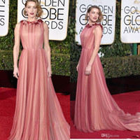 amber heard photos - Amber Heard The th prom Golden Globe Awards Celebrity Dresses Crew Neck Handmade Flower Covered A Layer Of Red Tulle Party Dresses