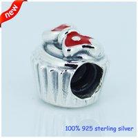 cupcake charm - New Antique Sterling Silver Red Enamel Minnie Cupcake Charms Locket Slide Charm Fits European Charm Bracelets Women Jewelry CE475