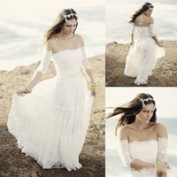 off white lace bridal wedding dress - Cheap Beach Wedding Dresses With Half Sleeveless Off Shoulder White Lace Beach Wedding Dresses Floor Length Sexy Wedding Bridal Gowns