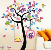 big graphics - Big sale removable wall color owl swing Kindergarten classroom of children room bedroom decoration stickers boy