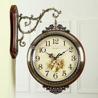 Wholesale Europe Pastoral Sided Wooden Wall Clock Silent Living Room Creative Arts Quartz Clock