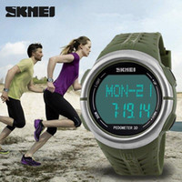 Cheap SKMEI 1058 Heart Rate Monitor watch pedometer Sport LED watches for men women 50m waterproof digital watch sports calorie counter Wristwatch