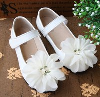 Wholesale DHL EMS Free Girls Floral Magic Tape Shoes Autumn Korean Fashion Childs Girl Flower Princess PU Soft Flats Kids Party Shoes Pink White M1757