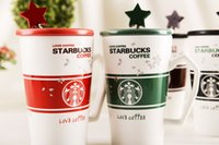porcelain - High Quality Starbucks ceramic coffee cup colors Starbucks Matt cup with cover and spoon Mug