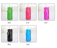aluminum straw - Summer hot Eco Friendly Portable Foldable Reuseable ml water bottle with Carabiner for outdoor sports travel mug folding bags