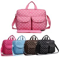 Wholesale MISS LULU Women Polka Dots Polyester Large Mummy Baby Diaper Nappy Changing Wipe Clean Tote Handbag Cross Body Shoulder Satchel Hand Bag