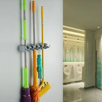 Wholesale New Position Kitchen Storage Mop Broom Organizer Holder Tool Plastic Wall Mounted FG08165