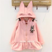 baby hoodie knitting pattern - Roupas Autumn Girl Fashion Clothing Children s Full Baby Small Rabbit Pattern Cardigan Sweater Coat Knit Hoodies Age