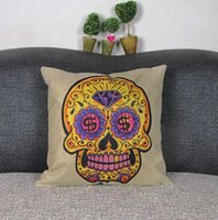 Cheap Skull Cotton Linen Throw Pillow Case Cushion Cover Sofa Home Room Bed Decor