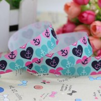 anchor grosgrain ribbon - 7 quot mm Popular Printed Anchors Hearts Grosgrain Ribbon for Bows Crafts Decorations Yards
