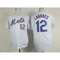 pinstripe baseball jerseys - White with Blue Pinstripe Baseball Jerseys Mets Lagares Men Players Sports Apparel Cheap Authentic Team Sports Jerseys Brand Sport Shirt