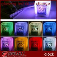 Wholesale 7LED Changing Color Change Glowing Led Color Change Digital Alarm Clock with Date Thermometer up