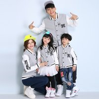 kids sweat suits - 2015 New Spring Fashion Casual Baseball Jersey Clothes Unisex Womens Mens Kids Family Lovers Sweat Suits Sportswear Jacket Coats