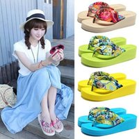 beach slippers women - Slippers Cloth strap sandals Summer Beach slope with sandals and slippers Flip flops Hot models Women s Slippers
