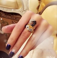 america fox - Fox jewelry full diamond rings cute animal black crystal yellow diamond ring for women fox cluster imported to America fashion