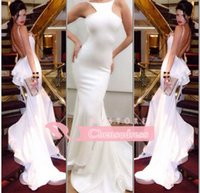 Wholesale Fashion Sexy White Evening Dresses Sexy Sleeveless Backless Ruffles Peplum Lace Sweep Train Mermaid Long Red Carpet Gowns Prom Dresses