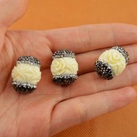 carved coral - Shell Beads Round Carved Engraved Flowers White Connector Crystal Rhinestone Paved Spacer Beads For Bracelet