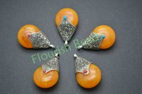 antique amber beads - Tibetan Style x38MM Synthetic Amber Alloy Beads Antique Silver Color Flat Pear Shape Woman Pendant Fit Necklace Making Gift