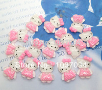 Wholesale 50Pcs Resin Cute Pink Hello Kitty Kawaii Cabochons Flatback Scrapbook Fit Phone Embellishment order lt no tracking