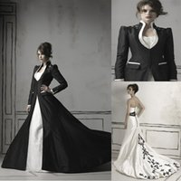 wedding dresses long sleeved - Black Long Sleeved High Collar Gothic Wedding Dresses Taffeta Wedding Gown Beads Appliques Ruffles Sweetheart Black Waist Band Wedding Dress