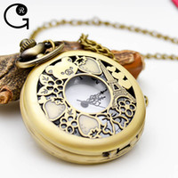 bear stationary - GR New Arrival Vine Bronze Hollow Bear Strawberry Pocket Watch with Chain Neckalce Pendant Gift for Kids With Box