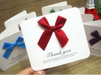 anniversary card messages - Free ship pc Beautiful satin bow blessing thank you cards message bless festival card flowers with gift card