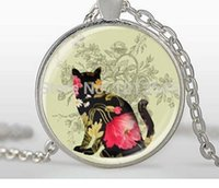 art picture mosaic - lack cat silver glass necklace charms vintage mosaic flower pendant Art picture round necklaces Choker jewelry gift CN397