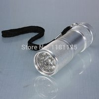 Cheap New 9LED UV Ultra Violet Flashlight Waterproof Torch Detection Silver 385~400nm