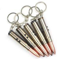 bullet keychain - Stylish Creative Mini LED Light Flashlight Torch Gadget Laser Pointer Pen Metal Bullet Artificial Grenade Pistol Gun Keychain Key Chain Q1
