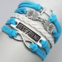 anchor rope double braid - New Silver Double Owls Best Friend Handmade Infinity anchor Blue PU Leather Rope Fashion Strands Braid Bracelets For Women
