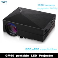 Wholesale DHL GM60 Multimedia Mini portable LED Projector Lumens x1080 Video USB VGA SD Home Video GM HDMI outdoor Projector Beamer
