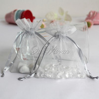 Wholesale 50pcs bag Silver quot x3 quot x9cm Strong Sheer Organza Pouch Wedding Jewelry Gift Bags PUH